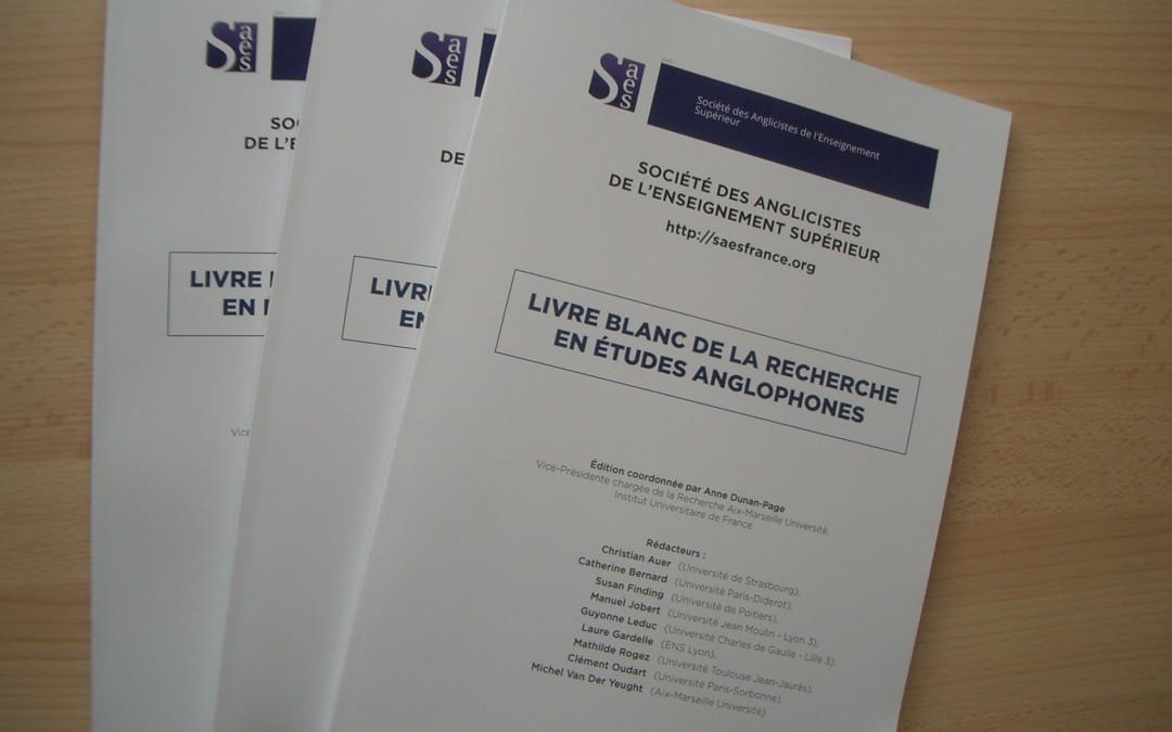 Publication du Livre Blanc de la Recherche en Etudes Anglophones, juin 2016.